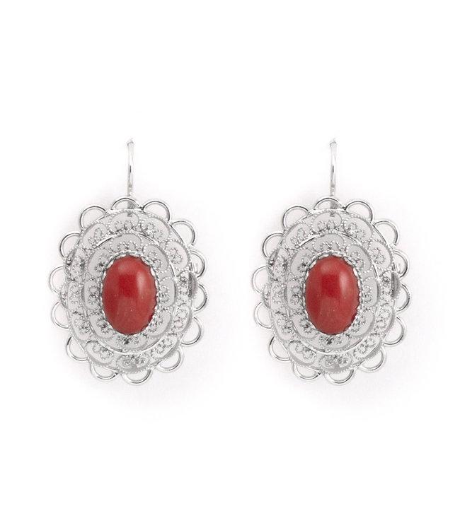 Mario Scognamiglio Zilveren oorbellen met ovale koraal cabochon