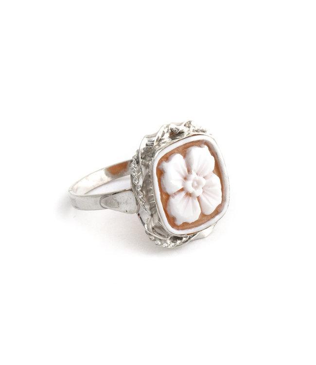Mario Scognamiglio Sterling zilveren ring met vierkante bloemen camee- maat 18,5