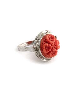 Mario Scognamiglio Sterling zilveren ring met bloemen koraal camee