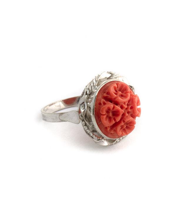 Mario Scognamiglio Sterling zilveren ring met bloemen koraal camee- maat 18