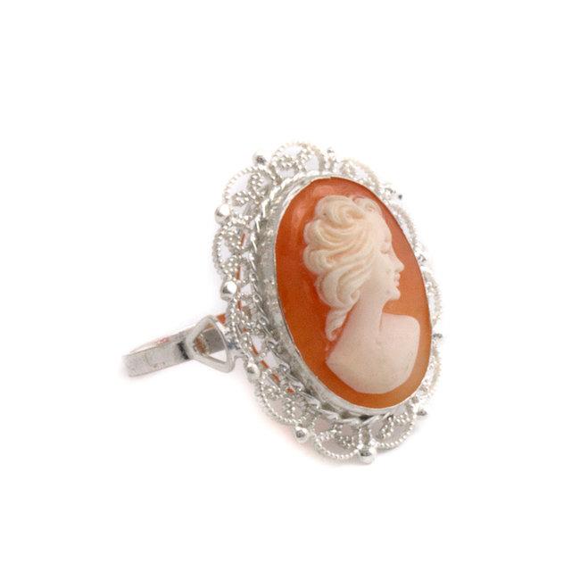 Zilveren ring met ovale camee - maat 18