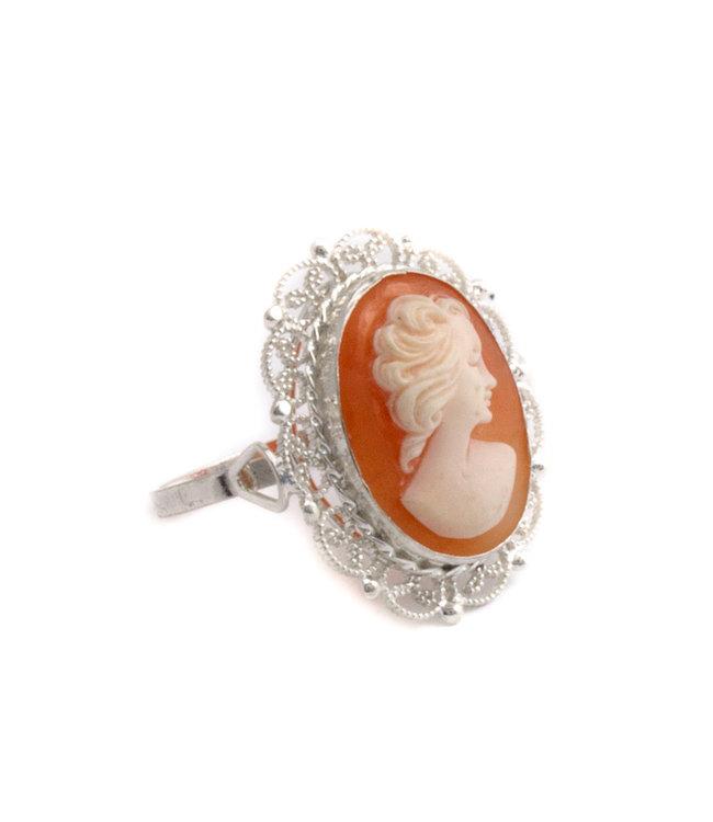 Mario Scognamiglio Zilveren ring met ovale camee - maat 18