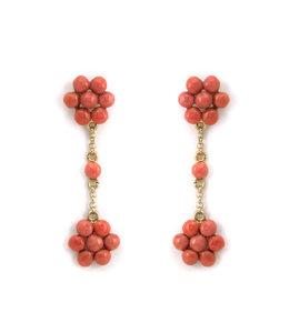 Mario Scognamiglio Vergulde oorbellen met koraal