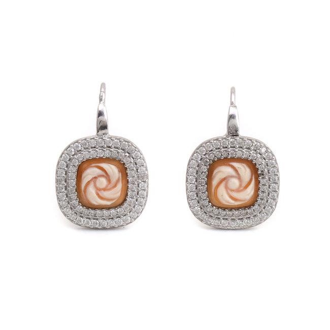 Zilveren oorbellen met vierkante camee en zirkonia