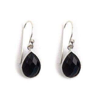 Aurora Patina Zilveren oorbellen zwarte onyx druppel