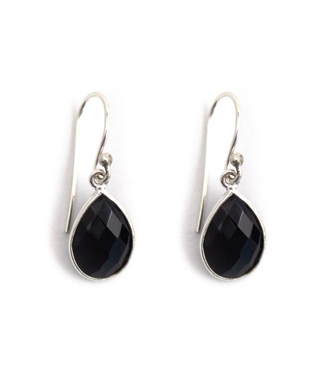 Aurora Patina Zilveren oorbellen met zwarte onyx druppel