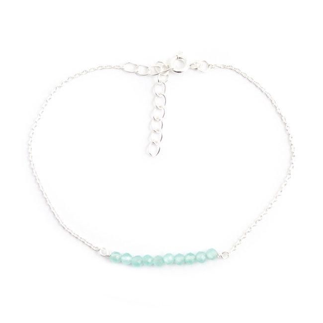 Zilveren armband met aqua chalcedoon fijn