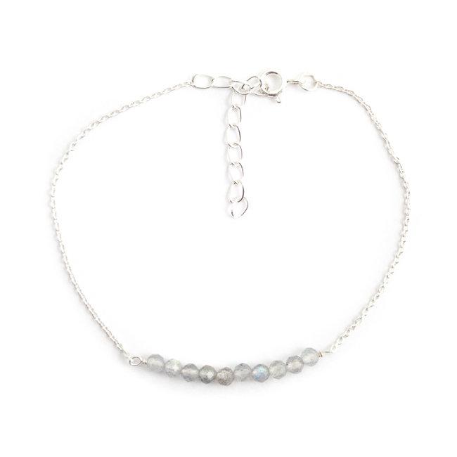 Zilveren armband met grijze labradoriet fijn