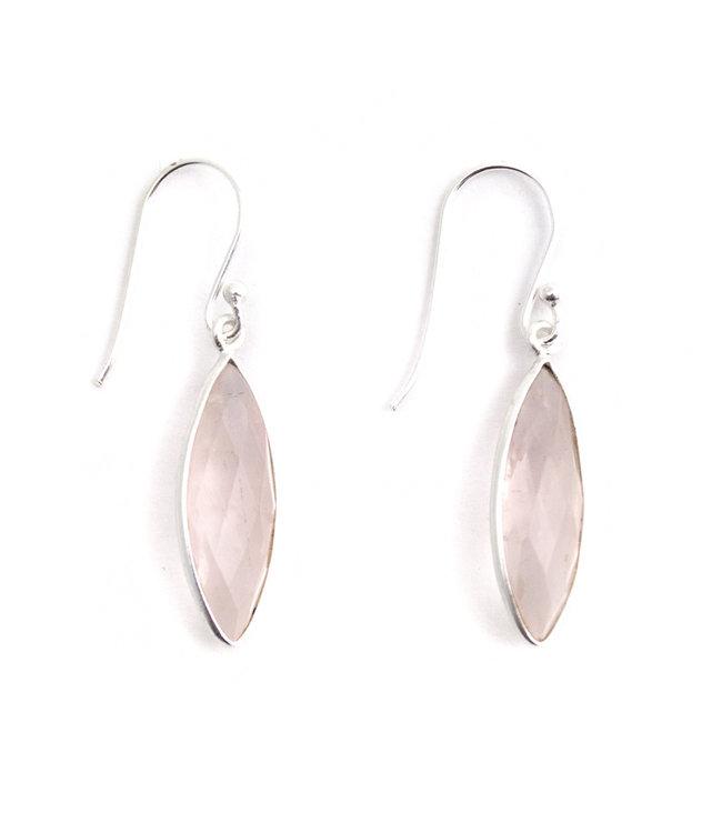 Aurora Patina Ranke zilveren oorbellen rozenkwarts