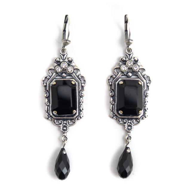 Krikor Zwarte oorbellen kristal art nouveau stijl