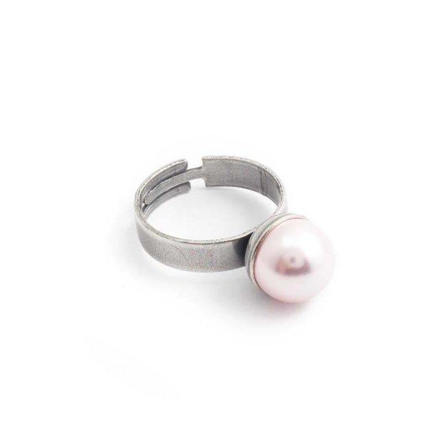 Parel ring met rosalin roze parel 10 mm