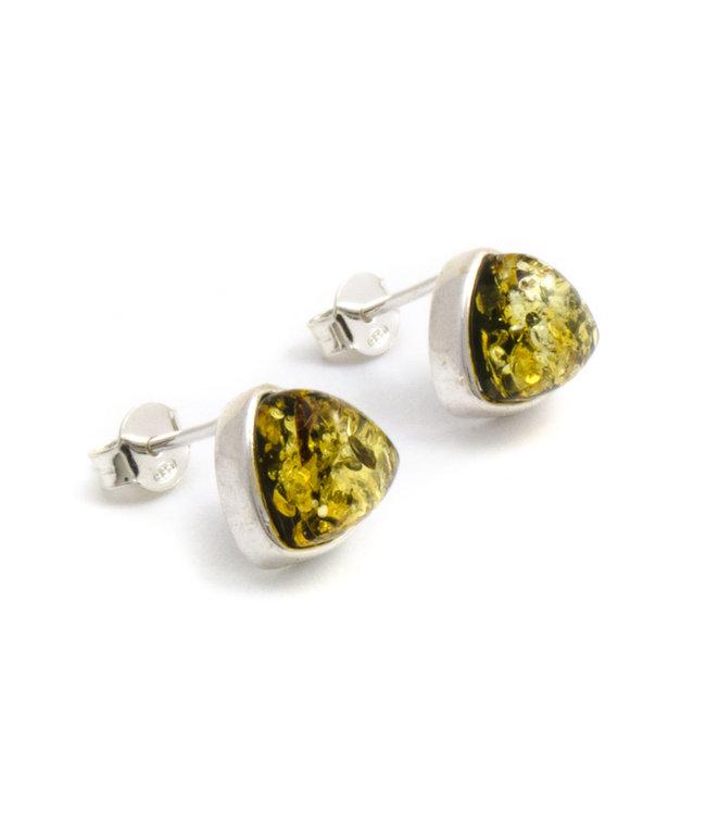 Aurora Patina Zilveren oorknopjes met barnsteen groen