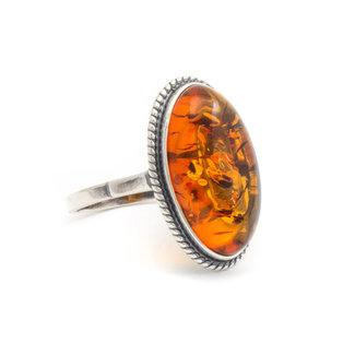Aurora Patina Zilveren ring barnsteen ovaal
