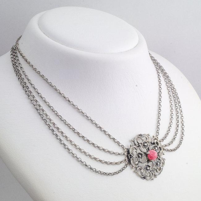 Aurora Patina Zilveren collier met rhodoniet