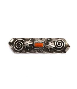 Aurora Patina Zilveren art deco broche met koraal