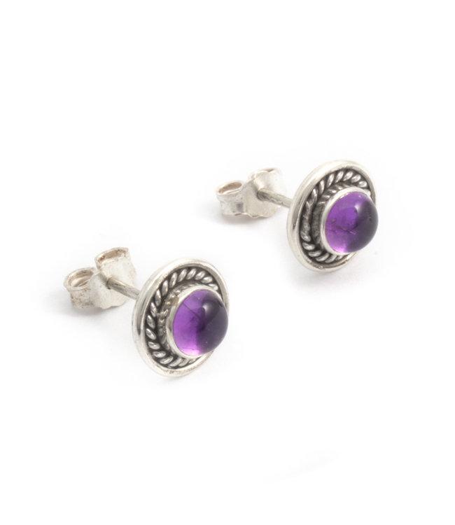 Aurora Patina Zilveren oorknopjes met paarse amethist