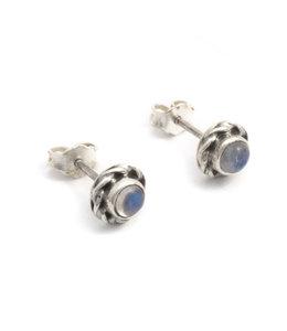 Aurora Patina Zilveren oorknopjes met maansteen