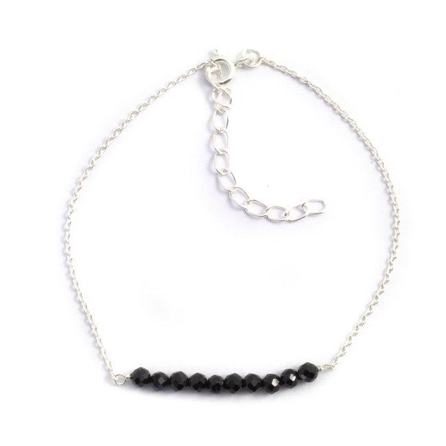 Zilveren armband met zwarte onyx fijn