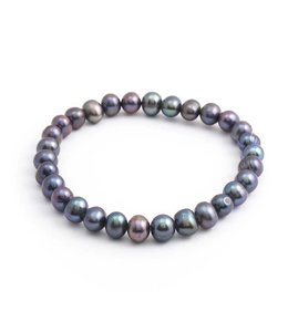 Aurora Patina Blauwe parel armband 6-7 mm