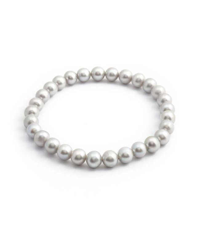 Aurora Patina Licht grijze parel armband met zoetwaterparels 6-7 mm