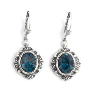 Krikor Ovale kristal oorbellen donker blauw