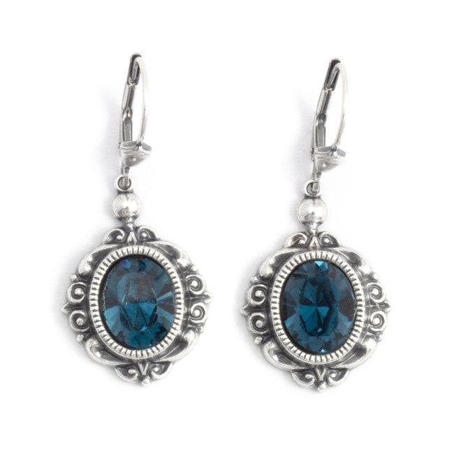 Ovale oorbellen met donker blauw Swarovski kristal