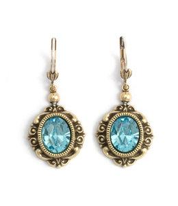 Krikor Ovale kristal oorbellen blauw