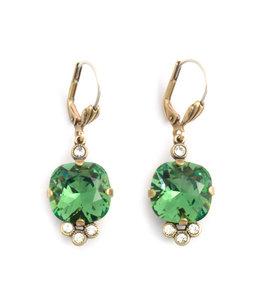 Krikor Klassieke kristal oorbellen groen