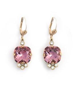 Krikor Klassieke kristal oorbellen roze