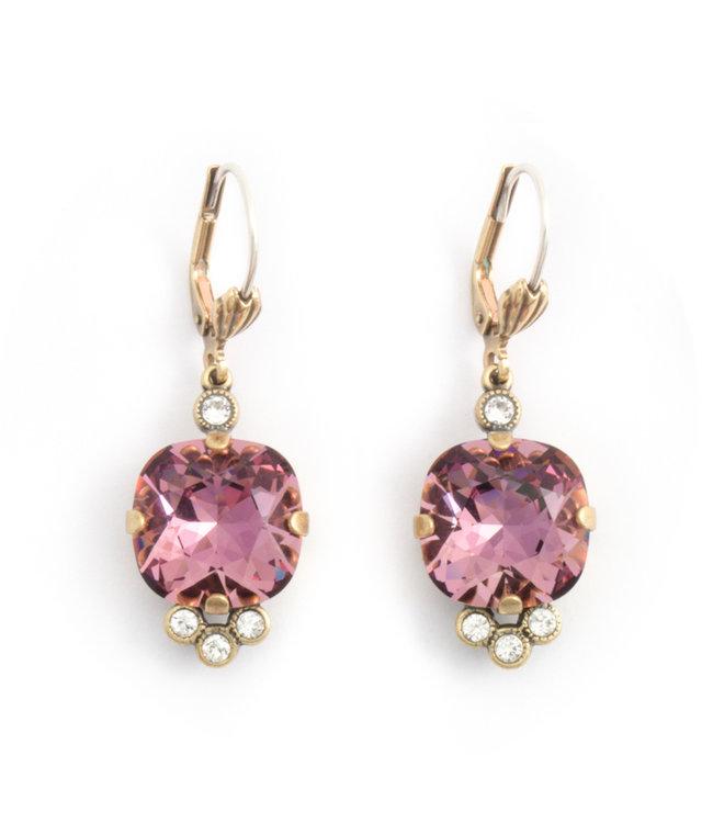Krikor Klassieke oorbellen met roze Swarovski kristal