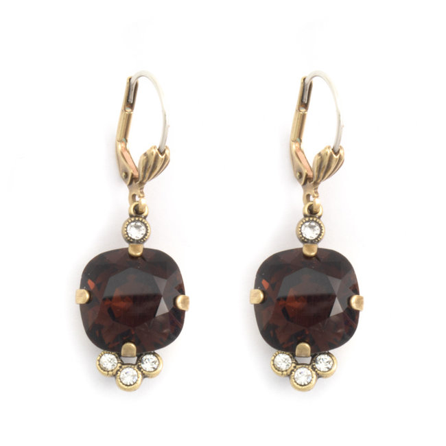 Klassieke oorbellen met bruin Swarovski kristal