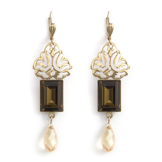 Krikor Bruine kristal oorbellen art nouveau
