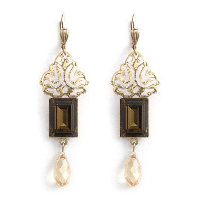 Bruine kristal oorbellen in art nouveau stijl