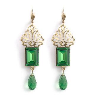 Krikor Groene kristal oorbellen art nouveau