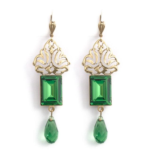 Groene kristal oorbellen in art nouveau stijl