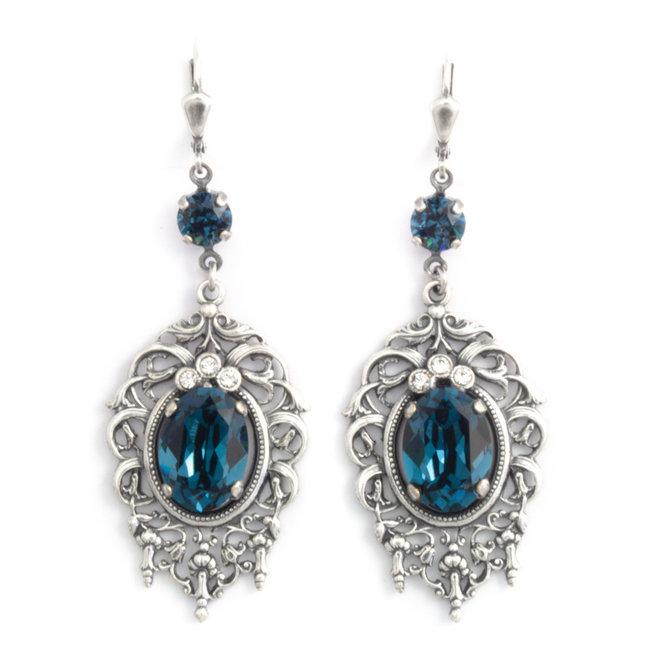 Grote blauwe kristal oorbellen in art nouveau stijl