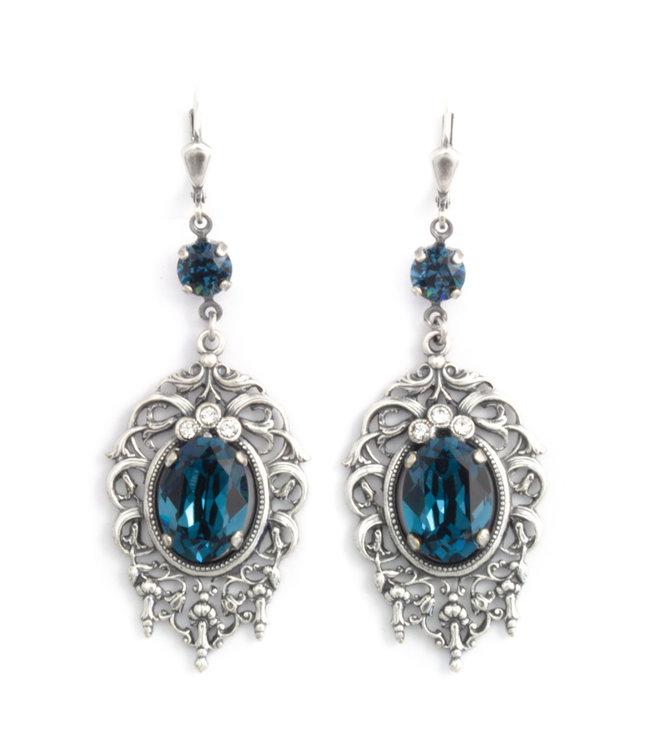 Krikor Grote blauwe kristal oorbellen in art nouveau stijl