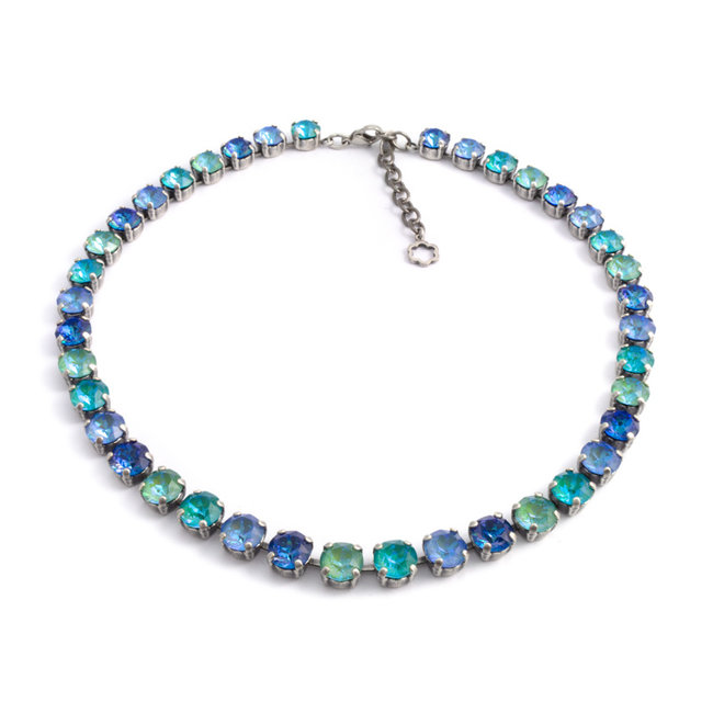 Blauw  groen collier met Swarovski kristallen