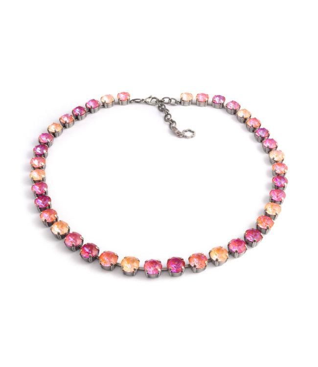 Krikor Oranje roze collier met Swarovski kristallen