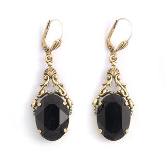 Krikor Ovale oorbellen zwart Swarovski kristal