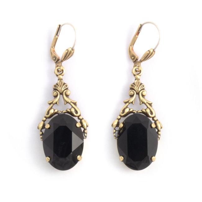 Ovale oorbellen met Swarovski kristal zwart