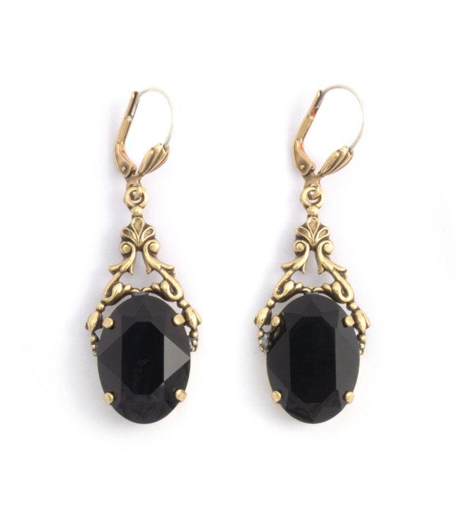 Krikor Ovale oorbellen met Swarovski kristal zwart