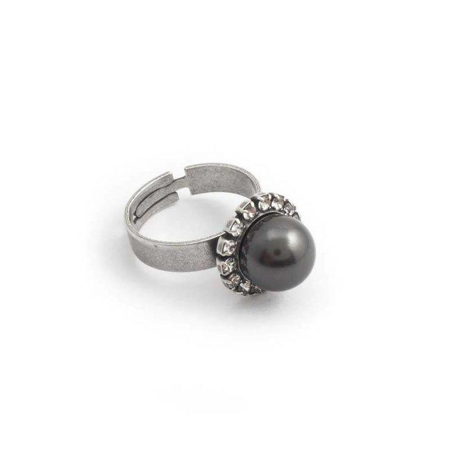 Krikor Donker grijze parel ring 10 mm kristal