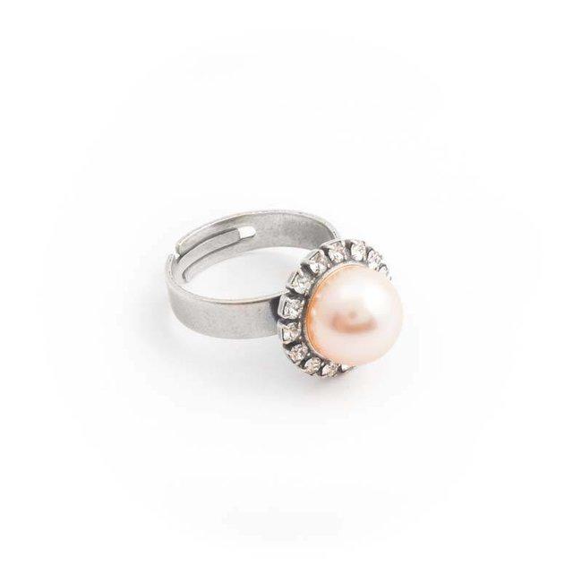 Krikor Perzik roze parel ring 10 mm