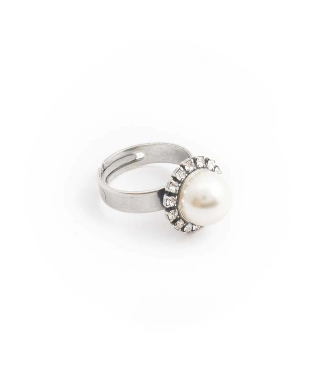 Krikor Witte parel ring 10 mm cream pearl en kristal