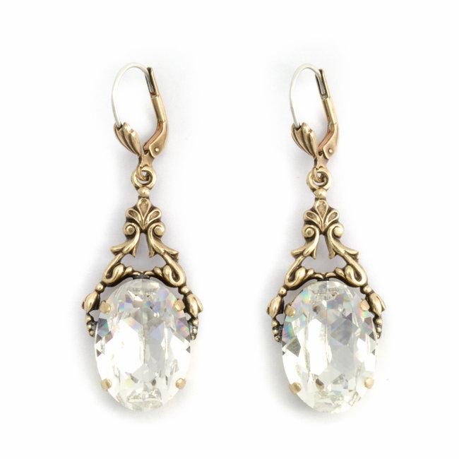 Ovale oorbellen met Swarovski kristal helder