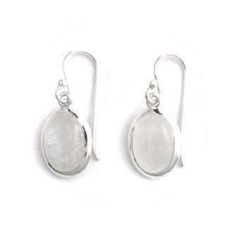 Aurora Patina Zilveren oorbellen met ovale maansteen