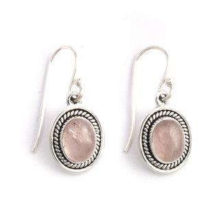 Aurora Patina Zilveren oorbellen rozenkwarts ovaal