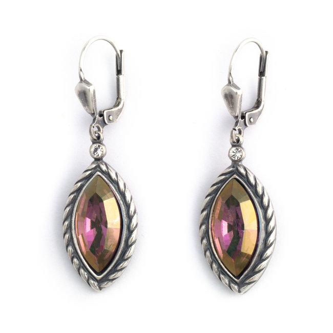 Kristal oorbellen met roz eSwarovski kristal