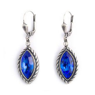 Krikor Kristal oorbellen ellips blauw